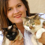 Cheryl with cats 285 x 300 pixels